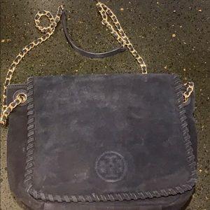 Navy blue suede Tory Burch bag